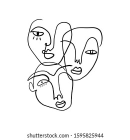 Abstract Fashion Artistic Portrait Painted Illustration Of People Faces Silhouette Group Pattern One Line Drawing Abstraction Modern Aesthetic Print Minimalism Interior Contour Handdrawn Lineart