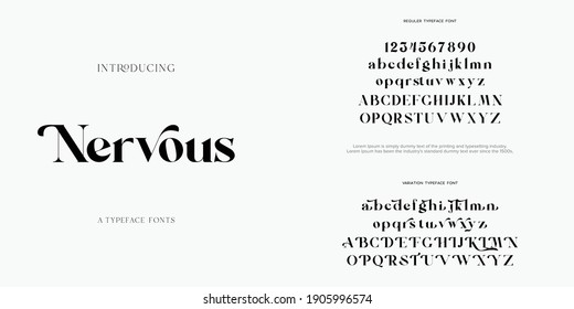 Abstract Fashion font alphabet. Minimal modern urban fonts for logo, brand etc. Typography typeface uppercase lowercase and number. vector illustration - Shutterstock ID 1905996574