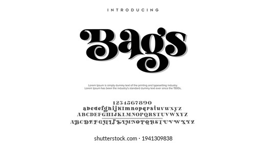 Abstract Fashion font alphabet. Minimal modern urban fonts for logo, brand etc. Typography typeface uppercase lowercase and number. vector illustration - Shutterstock ID 1941309838