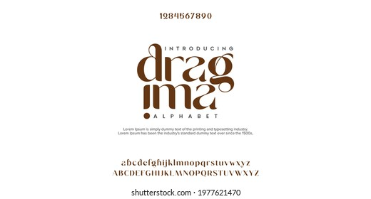 Abstract Fashion font alphabet. Minimal modern urban fonts for logo, brand etc. Typography typeface uppercase lowercase and number. vector illustration - Shutterstock ID 1977621470