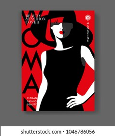 Abstract fashion girl wearing black dress and hat on red background. Magazine cover template. Vector illustration