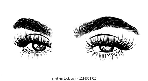 Abstract fashion illustration of the eye with creative makeup. Hand drawn vector idea for business visit cards, templates, web, salon banners,brochures. Natural eyebrows and glam eyelashes