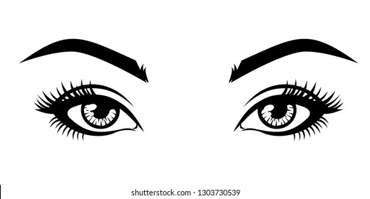 Abstract fashion illustration of the natural eyebrows and eyelashes. Vector idea for business visit cards, templates, web, salon banners, brochures.