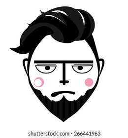 Abstract fashion man with beard vector. Face in simple graphic style.