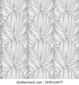 Abstract feather seamless vector pattern. Decorative hand drawn vintage background, can use like page for coloring book.
