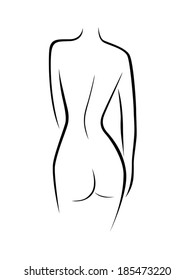 Abstract female back contour, black over white hand drawing vector artwork