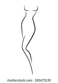 Abstract female body contour, black over white hand drawing vector artwork