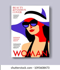 Abstract female character wearing swimsuit, sunglasses and hat. Woman magazine cover design for the summer holiday season. Vector illustration