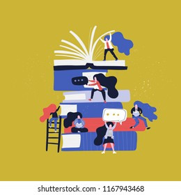 Abstract female characters around stack of books - reading, climbing and learning. Vector flat illustration.