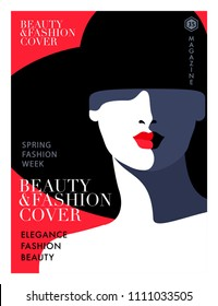 Abstract female close up portrait wearing big black hat, red background. Woman fashion magazine cover design.  Vector illustration