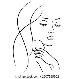 Abstract female face with closed eyes, hand drawing vector outline over white