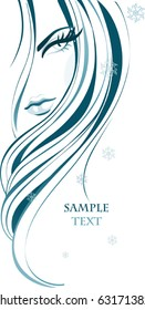 Abstract female face. Fashion girl with long beautiful hair and snowflakes. Vector background for beauty salon design.
