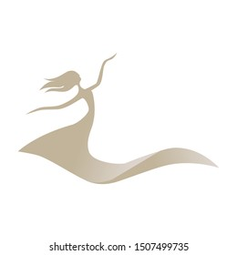 abstract female figure as a part of dune sand, vector logo icon