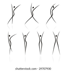 abstract female figures in movement on a white background