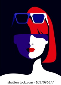 Abstract female portrait. Beautiful girl, young woman wearing sunglasses. Vector illustration