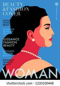 Abstract female portrait in profile. Woman in black wearing earrings and necklace. Fashion magazine cover design. Vector illustratio