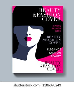 Abstract female portrait, woman wearing big hat. Woman fashion magazine cover design.  Vector illustration
