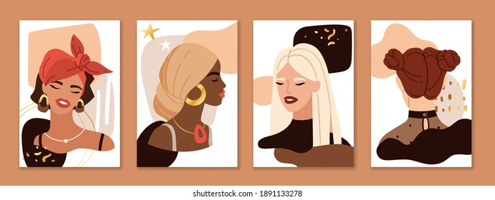 Abstract female portraits. Trendy beautiful young women faces compositions. Pretty blonde, brunette and red hair multi ethnic girls on modern art shapes collage backgrounds. Vector fashion posters set
