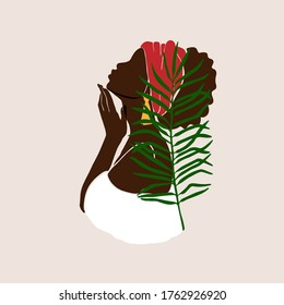 Abstract female profile portrait. Beautiful African American, Latina woman holds a hand near the face in a white dress. Modern design valentine's day, international women's day, mother's day,