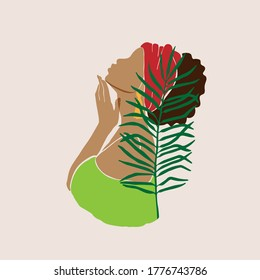 Abstract female profile portrait. Beautiful African American, Latina, white woman holds a hand near the face. Modern design for spa, beauty salons Vector illustration