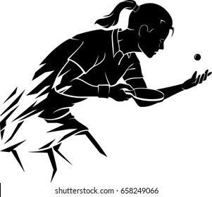 Abstract Female Table Tennis Player
