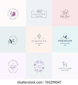 Abstract Feminine Vector Signs or Logo Templates Set. Retro Floral Illustration with Classy Typography, Birds and Lamb. Premium Quality Emblems for Beauty Salon, SPA, Wedding Boutiques, etc. Isolated