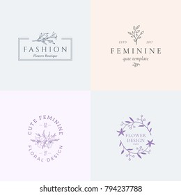 Abstract Feminine Vector Signs or Logo Templates Set. Retro Floral Illustration with Classy Typography. Premium Quality Flower Emblems for Beauty Salon, SPA, Wedding Boutiques, etc. Isolated.