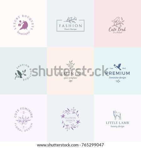 abstract feminine vector signs logo templates のベクター画像素材