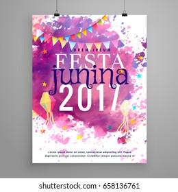 abstract festa junina 2017 invitation with watercolor effect