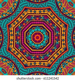 Abstract festive colorful mandala vector ethnic tribal pattern