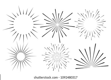 Abstract festive firework shape. Burst light rays. Exploding graphic element. Isolated on white background. Vector illustration