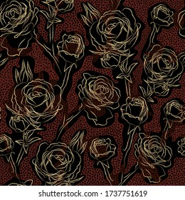 Abstract festive floral vector seamless pattern. Golden contours rose flowers on spotted brown and black background. Template for design, textile, wallpaper, wrapping, carton.