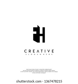 abstract FH logo letter monogram shadow design concept