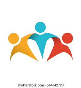 abstract figure of humans. teamwork concept. colorful design. vector illustration