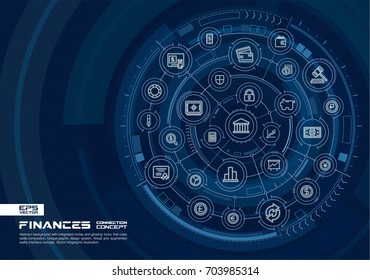 Abstract finance, bank technology background. Digital connect system with integrated circles, glowing line icons. Virtual reality, payment interface concept. Vector future infographic illustration