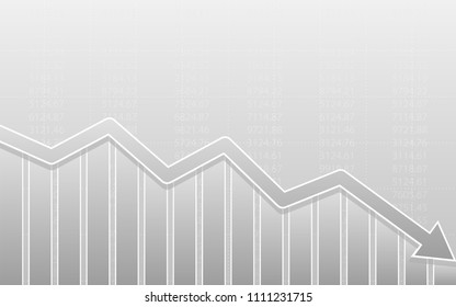 Abstract financial bar chart with downtrend line arrow graph on black color background