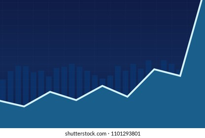 Abstract financial bar chart with uptrend line graph in blue color background