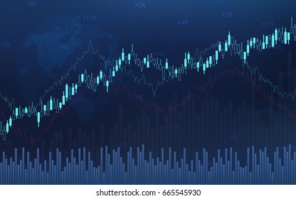 Abstract financial candlestick chart with line graph and stock numbers on gradient blue color background