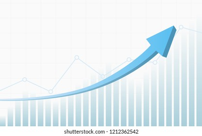 abstract financial chart with 3d blue color uptrend line arrow and graph stock market on white color background
