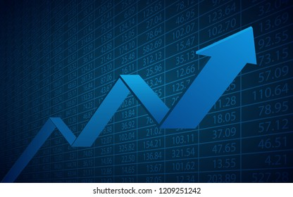 Abstract financial chart with 3d uptrend line arrows graph go up and stock numbers on blue color background