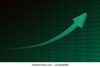 Abstract financial chart with 3d uptrend line arrows graph go up and stock numbers on green color background