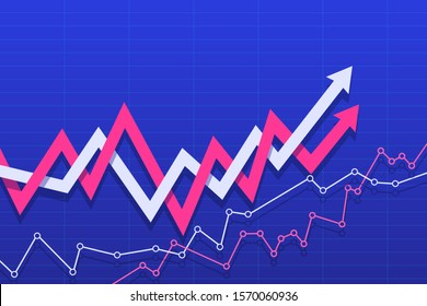 Abstract financial chart with arrows. Vector illustration.