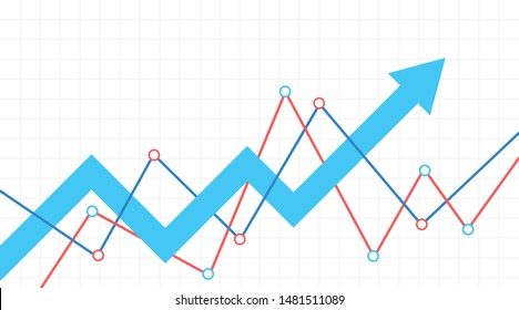 Abstract financial chart with blue arrow. Stock arrow move up. White background.