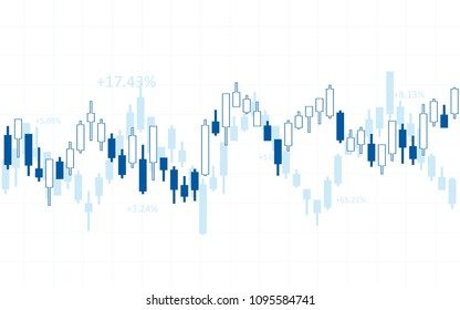 Abstract financial chart with candlestick and numbers in stock market on white color background