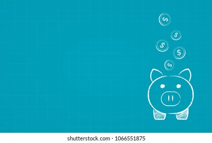 Abstract financial chart with dollar coin drop to piggy bank in chalk Scribble design on blue color background