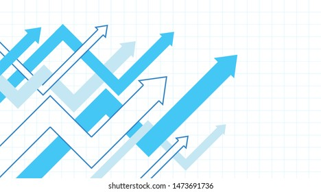 Abstract financial chart with interweaving arrows going up.  Creative vector illustration of business success.