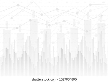 abstract financial chart with line graph and numbers  on  white color background