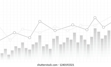 Abstract Financial Chart Line Graph On Gradient White Background. Vector Illustration EPS 10