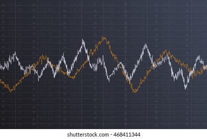 Abstract financial chart with line graph and stock numbers in Sideways market on dark gray color background (vector)
