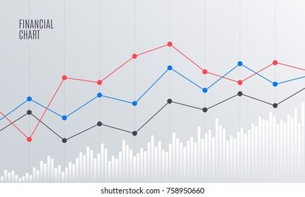 Abstract Financial Chart with Line Graph in Stock exchange market. Statistics uptrend. Analytics Data Report. Vector illustration.